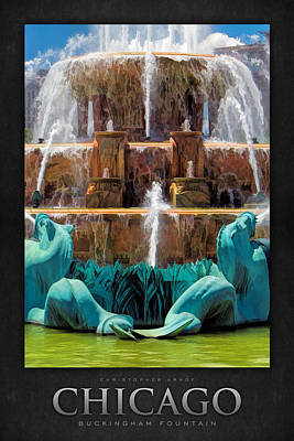 Painting - Buckingham Fountain Closeup Poster by Christopher Arndt