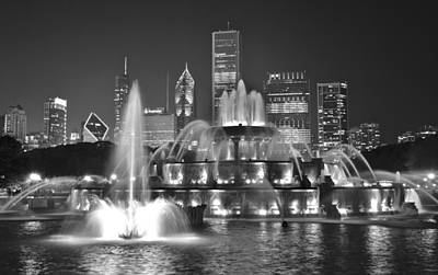 Photograph - Buckingham Fountain Night Black And White by Frozen in Time Fine Art Photography