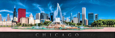 Chicago Painting - Buckingham Fountain Skyline Panorama Poster by Christopher Arndt
