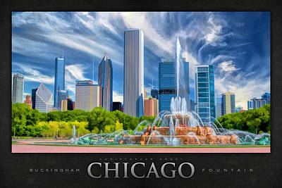 Buckingham Fountain Skyscrapers Poster Art Print