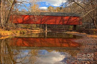 Photograph - Bucks County Covered Bridge - Frankenfield Covered Bridge by Adam Jewell