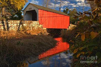 Photograph - Bucks County Red Covered Bridge Reflections by Adam Jewell