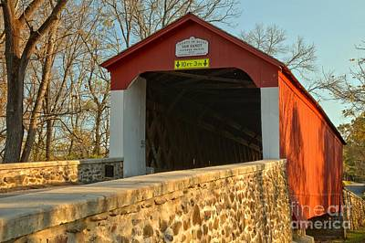 Photograph - Bucks County Van Sant Covered Bridge by Adam Jewell