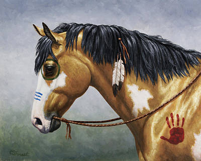 Native American Horse Painting - Buckskin Native American War Horse by Crista Forest