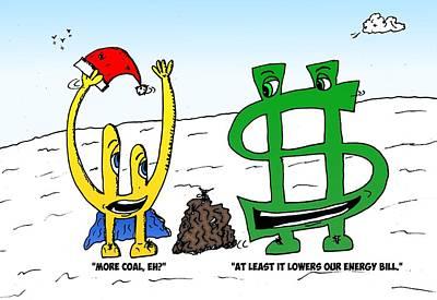 Financial Mixed Media - Bucky Euroman And Christmas Coal by OptionsClick BlogArt