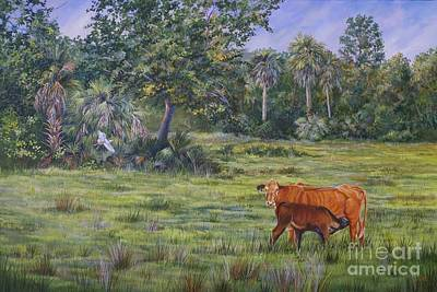 Cattle Egret Painting - Bucolic Florida by AnnaJo Vahle