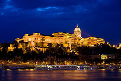 Budapest Hungary Attractions Photograph - Buda Castle At Night In Budapest by Artur Bogacki