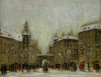Snowstorm Painting - Budapest In The Snow by Antal Berkes
