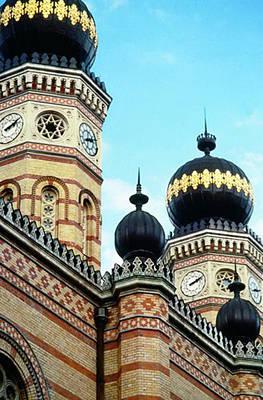 Onion Domes Digital Art - Budapest Jewish Synagogue by Paige White