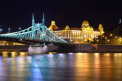 Budapest Night Bridge Art Print by Ioan Panaite