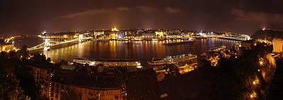 Budapest Night Panorama  Art Print by Ioan Panaite