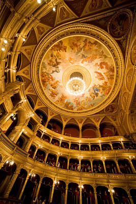 Budapest Sights Photograph - Budapest Opera House Auditorium And Ceiling by Artur Bogacki
