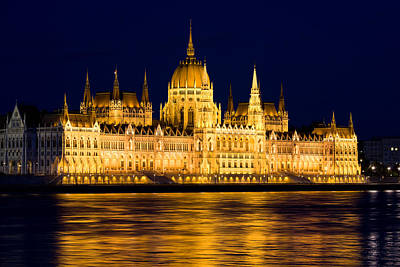 Budapest Sights Photograph - Budapest Parliament At Night by Artur Bogacki
