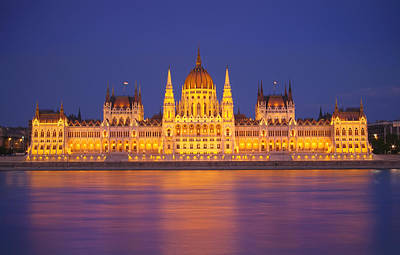 Budapest Parliament At Night Art Print by Ioan Panaite