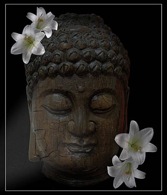 Buddha Adorned With Asian Lilies Art Print by Daniel Hagerman