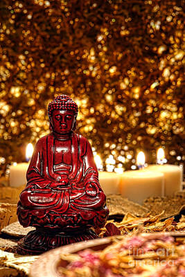 Monastic Photograph - Buddha And Candles by Olivier Le Queinec