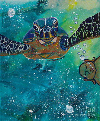 Buddha And The Divine Sea Turtle No. 1372 Art Print by Ilisa Millermoon