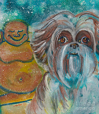 Buddha And The Divine Shitz Tzu No. 1324 Art Print by Ilisa Millermoon
