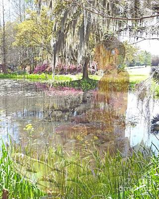 Photograph - Buddha Avery Island Louisiana Jungle Garden Pool by Lizi Beard-Ward