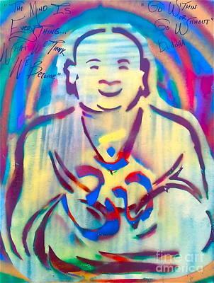 First Amendment Painting - Buddha Burgundy Smiling by Tony B Conscious