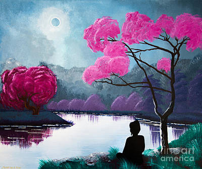 Buddhist Painting - Buddha By The Lake by Mindah-Lee Kumar