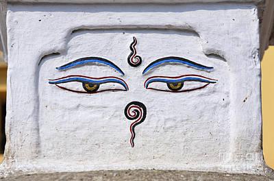 Religious Art Photograph - Buddha Eyes On A Stupa In Kathmandu Nepal by Robert Preston