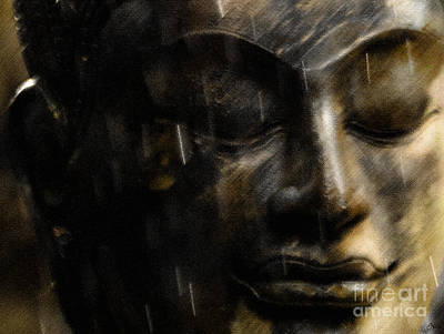 Photograph - Buddha Face In Rain 2 by Nola Lee Kelsey