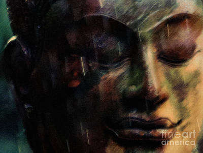 Photograph - Buddha Face In The Rain by Nola Lee Kelsey