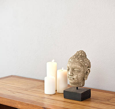 Photograph - Buddha Head With Candles  by U Schade