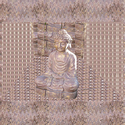Mixed Media - Buddha Idol Statue Digitalart Graphicart Spiritual Holy Holistic Religion Eastern Peace Happiness Pr by Navin Joshi