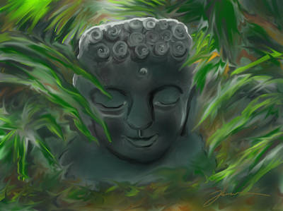 Painting - Buddha In The Bushes by Jean Pacheco Ravinski