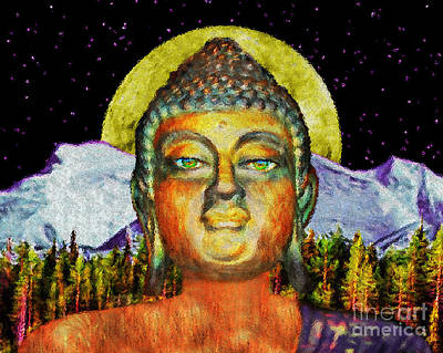 Buddha In The Moonlight Art Print by Tarik Eltawil