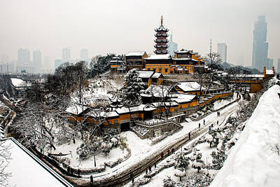 Photograph - Buddha - Jiming Temple In The Snow - Colour Version  by Dean Harte