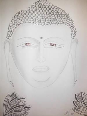 Lori Thompson Drawing - Buddha by Lori Thompson