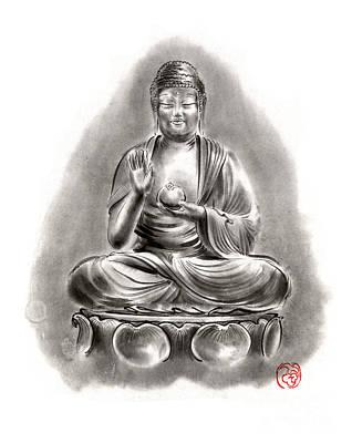 Buddha Medicine Buddhist Sumi-e Tibetan Calligraphy Original Ink Painting Artwork Art Print by Mariusz Szmerdt