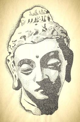 Pointalism Drawing - Buddha by Noah Babcock