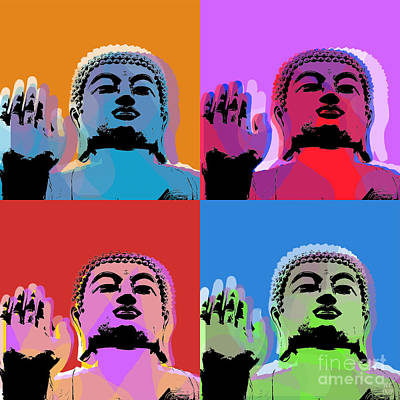 Art Print featuring the digital art Buddha Pop Art - 4 Panels by Jean luc Comperat