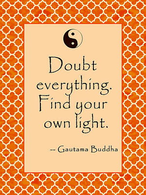 Buddha Quote Poster In Sunrise Colors Doubt Everything Art Print