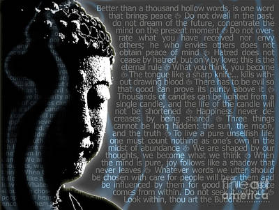Swirling Digital Art - Buddha Quotes by Sassan Filsoof