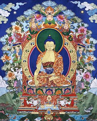 Tibetan Buddhism Tapestry - Textile - Buddha Shakyamuni And The Six Supports by Leslie Rinchen-Wongmo