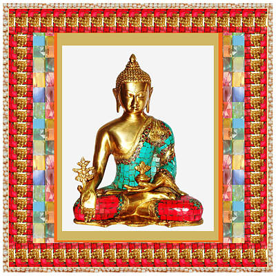 Navinjoshi Painting - Buddha Sparkle Bronze Painted N Jewel Border Deco Navinjoshi  Rights Managed Images Graphic Design I by Navin Joshi