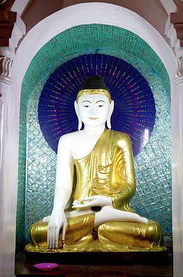 Buddha Statue At The Shwedagon Paya Art Print by David R. Frazier