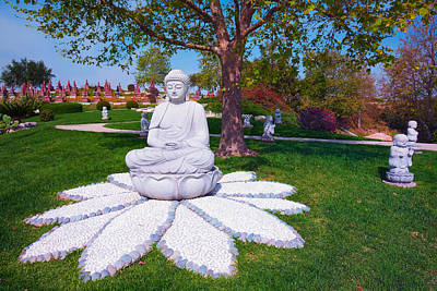 Photograph - Buddha Statue - Buddhist Columbarium Rose Hills Memorial Park Whittier California by Ram Vasudev
