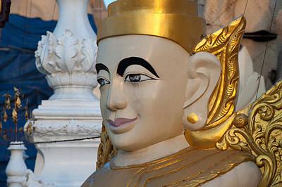 Pyrography - Buddha Statue Detail by Judith Barath