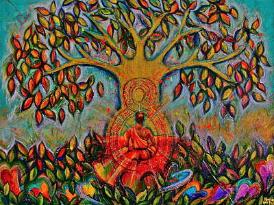Chakra Rainbow Painting - Buddha Tree by Heidi Lee Warta