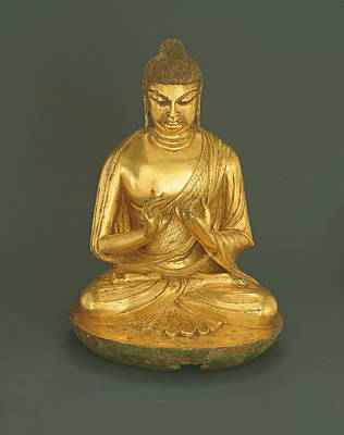 Tang Photograph - Buddha Vairocana Dari, Tang Dynasty 618-907, Early 8th Century Gilt Leaded Bronze by Chinese School
