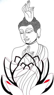 Drawing - Buddha Viii by Kruti Shah