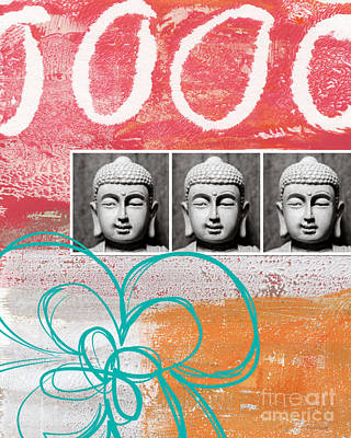 Buddha With Flower Art Print by Linda Woods