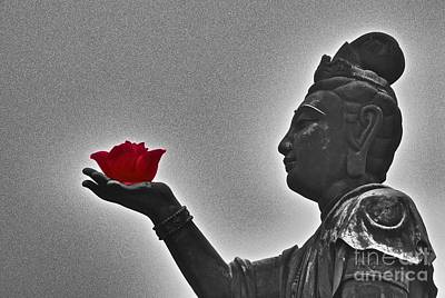 Photograph - Buddha With Rose  by Sarah Mullin