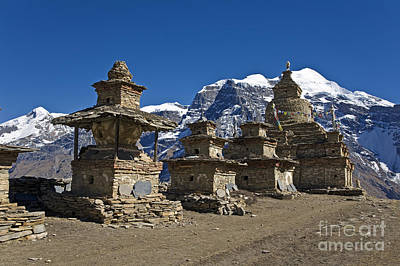 Photograph - Buddhist Chortens And Kangguru Peak - Nar Phu Trek Nepal by Craig Lovell